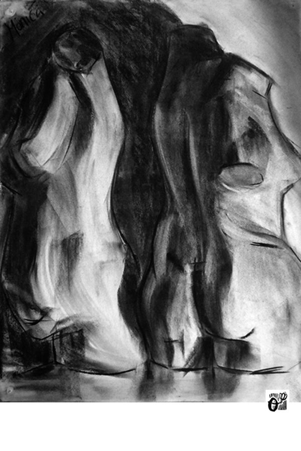 cuerpo humano carbones carboncillo decorar sala luz contraste arte artista